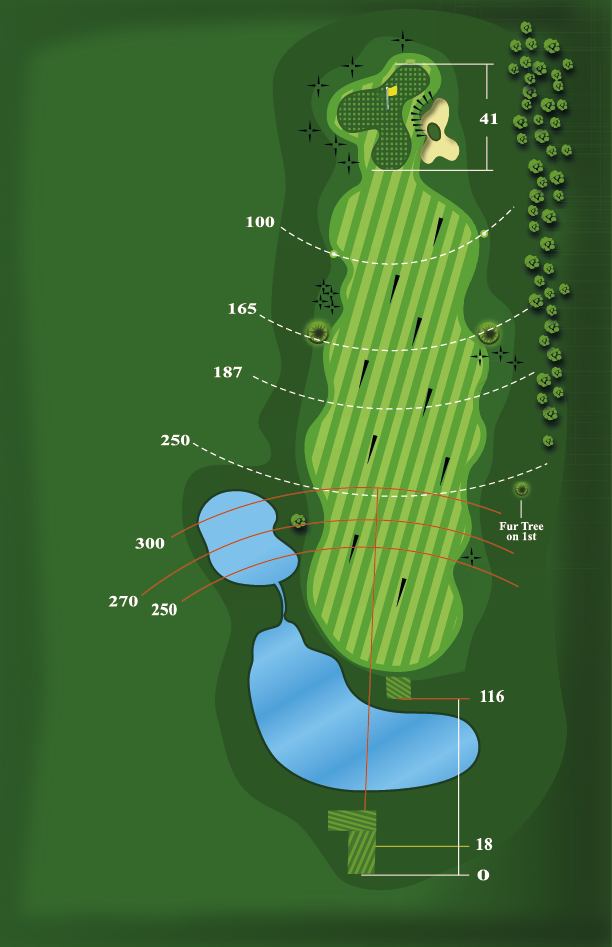 Yardage plan for Hole 9