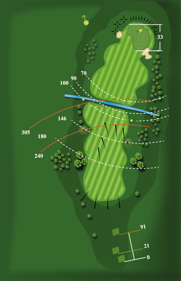 Yardage plan for Hole 14