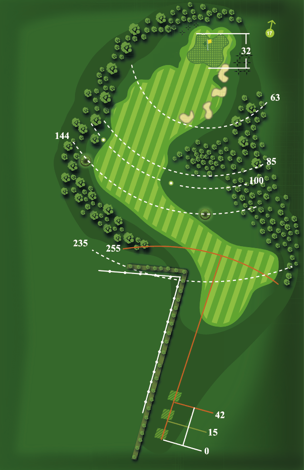 Yardage plan for Hole 16