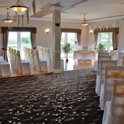 The room set up for a civil ceremony wedding